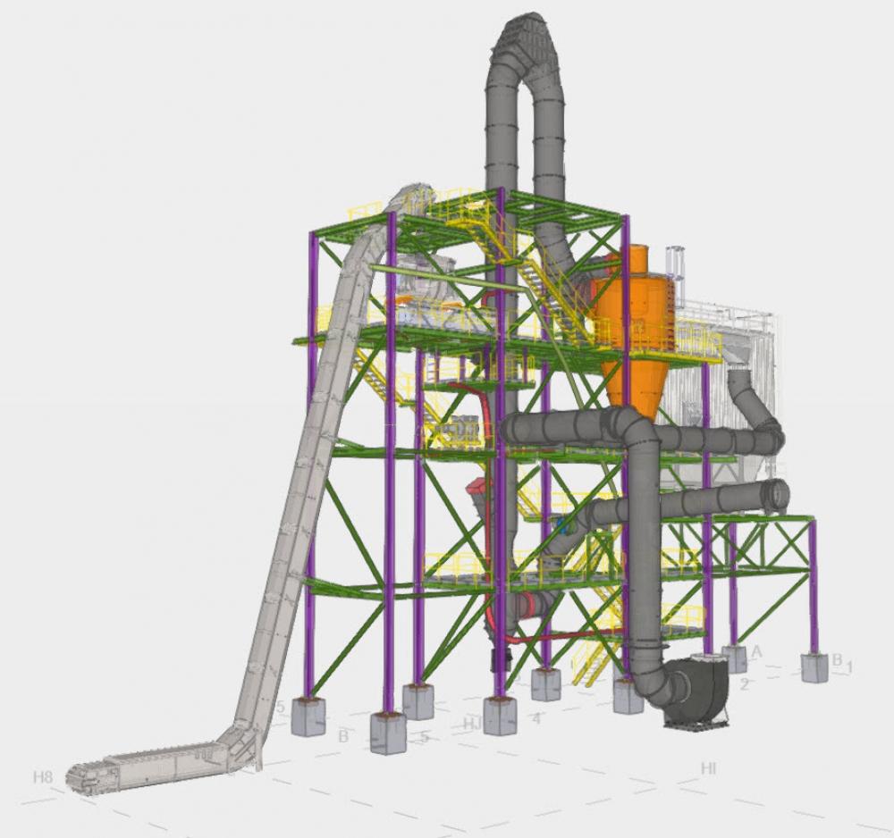 3D model of A TEC's flash dryer for Pecs